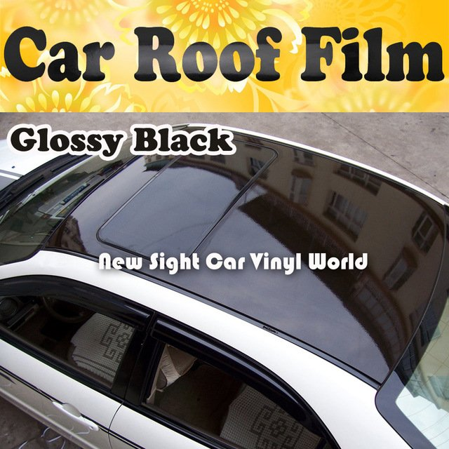 3 Layers Glossy Black Sun Roof Vinyl Film Air Bubble Free For Vehicle Size:1.35*15m/Roll