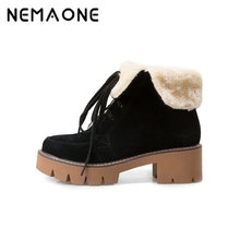 NEMAONE New Black red yellow ankle women boots women fashion winter platform boots lace up women shoes square heel snow boots