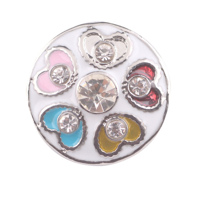 10Pcs/lot The Bloomer Snap Crystal Flower Button Bracelet Bangles Fit DIY 18mm Snap Buttons Charm Bracelets Jewelry