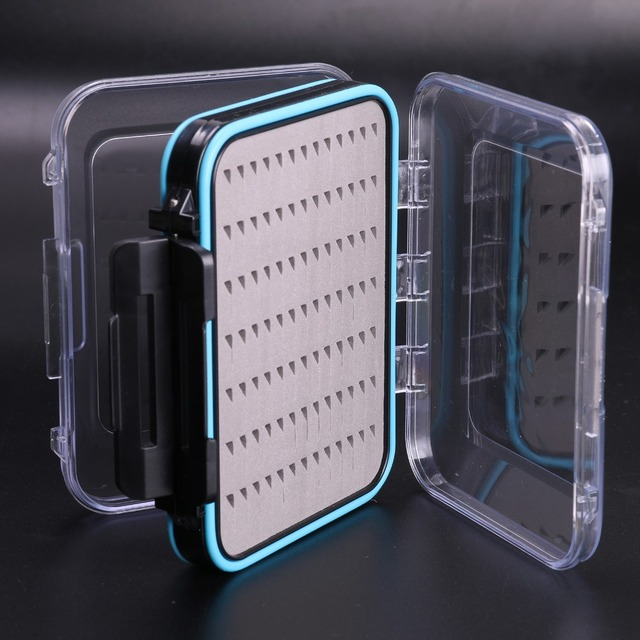 2 Pieces Fly Fishing Box Double Side Design Open Waterproof Fly Box Small Portable Fishing Tackle Box