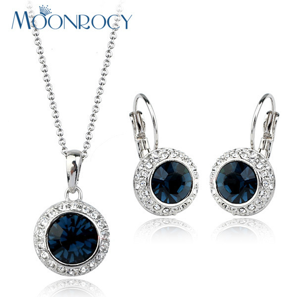 MOONROCY Free Shipping Fashion Crystal Necklace and Earrings Jewelry Set Rose Gold Color Jewelry Set Blue women Gift
