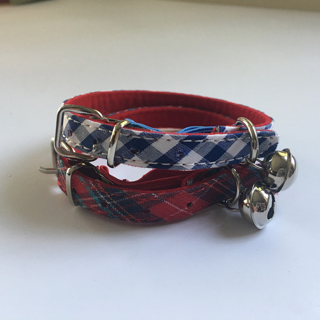 Free shipping pet cat collar classic pattern with elastic belt velvet lining red/blue 50pcs/lot