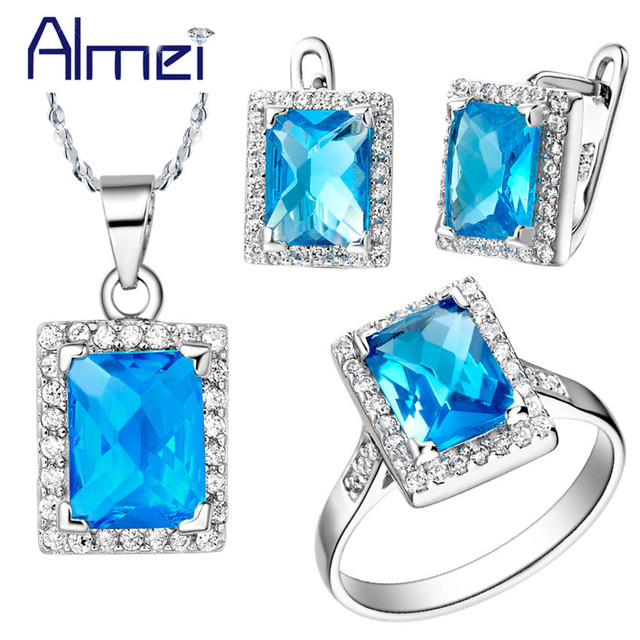 Almei Jewelry Sets for Womens Necklace Earring Set Silver Color Square Blue Stones Rhinestone Ring African Beads Jewellery T008