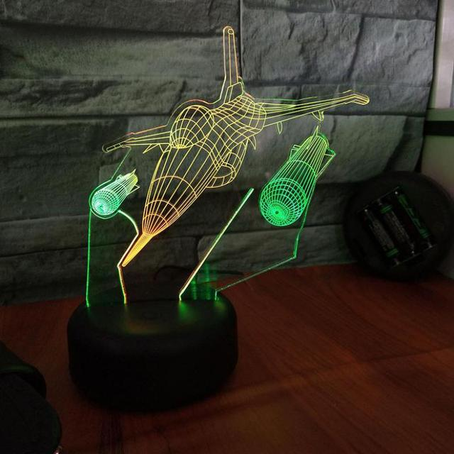 Fighter Visual Night 3d Light Creative Seven Color Touch Charging Led Stereo Gift Table Lamp For Bedroom 3D Desk Lamp