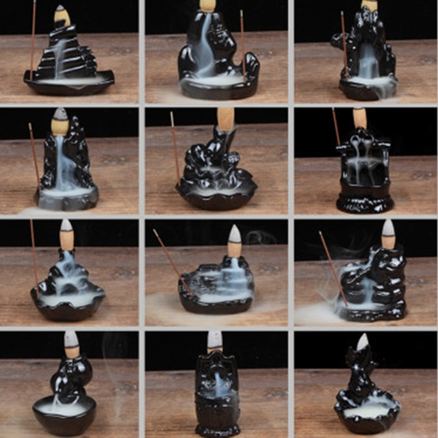 12 Styles Tower Incense Ceramic Burner Fragrance Holder Backflow Censer Creative Aromatherapy Smoke Reflux Incense Stick Incense