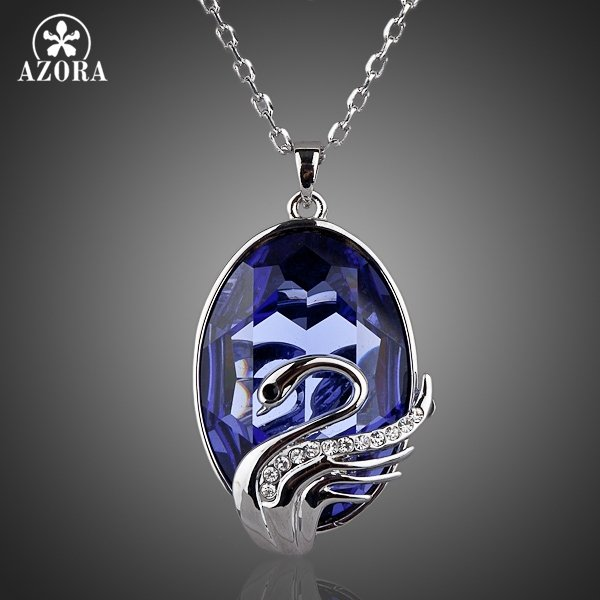 AZORA Swans Fly Blue Sky White Gold Color Stellux Austrian Crystal Ellipse Pendant Necklace TN0042