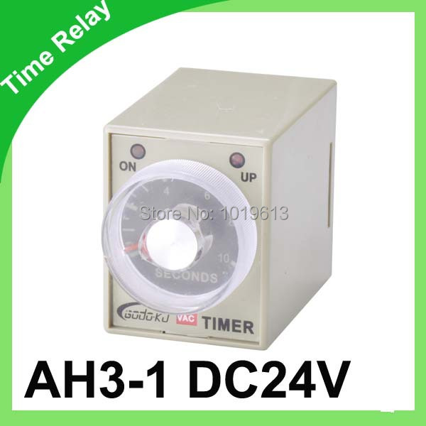 5pcs /lot DC 24V time relay ah3-3 power on delay time relay 1~60 second