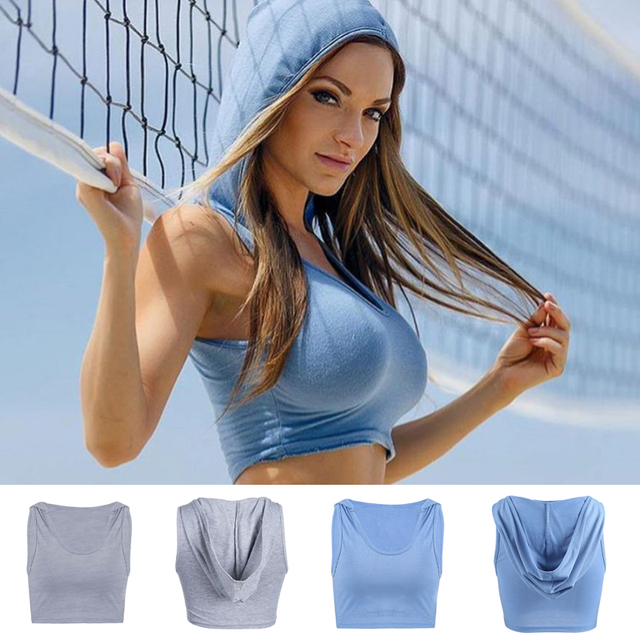 Pure Color Casual Hooded Vest Running Top Sports Yoga Vest Fashion Women Top Tank Crop Cotton Fitness Gym Women
