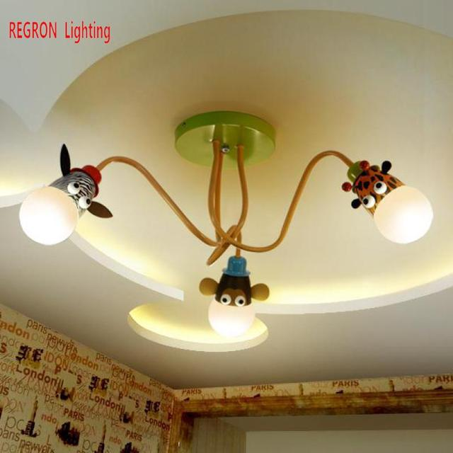 Regron Cartoon Ceiling Lamp Creative Led Animal Leopard 3/4/5 Eye Care Ceiling Lights For Children's Room Bedroom Study