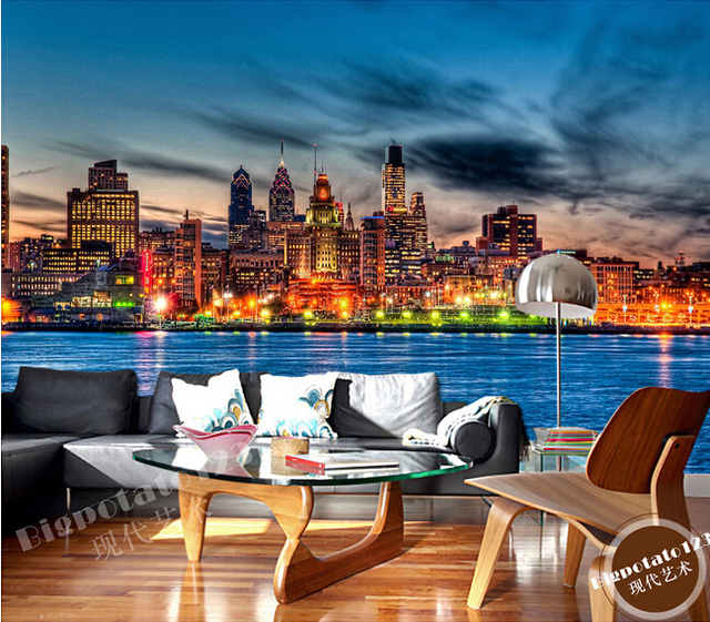 The latest 3D murals,seaside city night under  the beautiful dream of the sky, the living room TV sofa bedroom wall paper