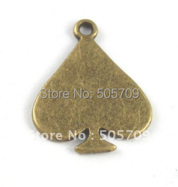 225PCS Antiqued bronze heart charms A15496B