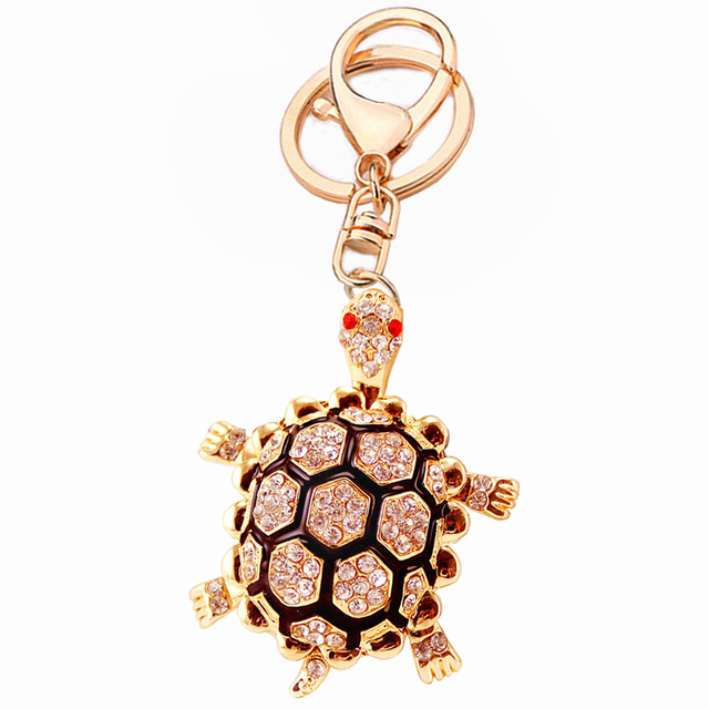 Creative Crystal Tortoise Keychain Fashion Turtle Key Chain Ring Holder For Women Bag Purse Charm Gift Exquisite Keyfobs R016