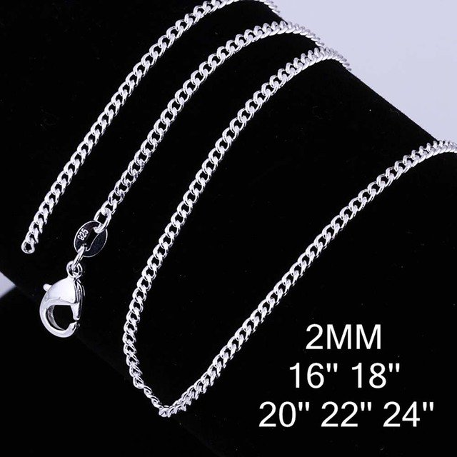 Hot Sale 2mm 16'' 18'' 20'' 22'' 24'' 5 Sizes Silver Plated Chain,Wedding Jewelry Accessories,Shrimp Fashion Sideways Chain