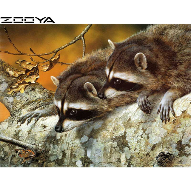 ZOOYA Diamond Embroidery 5D DIY Diamond Painting Cross-Stitch Kits Two Raccoons Rhinestone Painting Mosaic Picture Gifts R1246