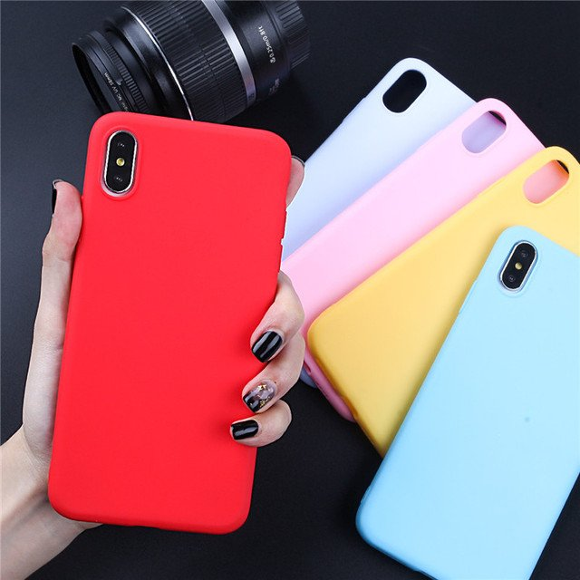 Cute Soft Silicone Case for iPhone 6 S 6S 7 8 Plus X XR XS Max Case For iphone 11 12 Pro Max 12 mini Candy Color rubber Cover