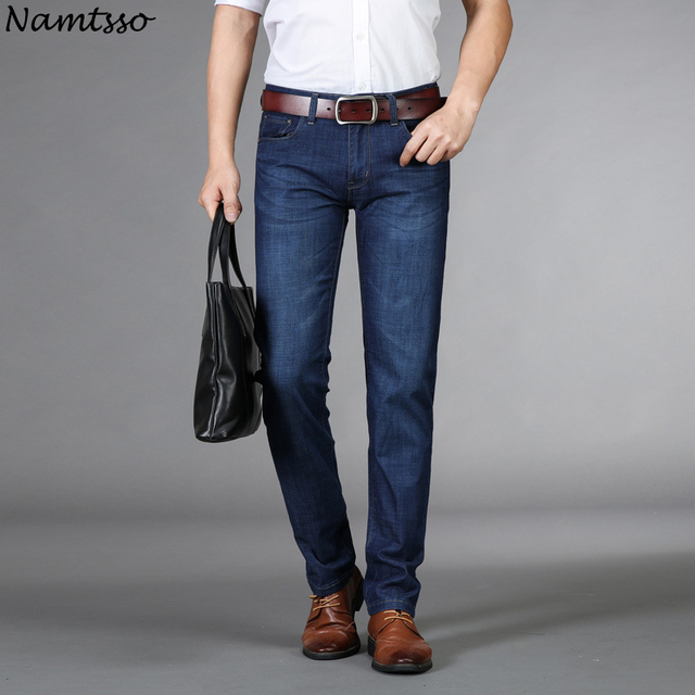 Summer models new men's business gentleman jeans cotton thin waist straight fashion comfortable breathable denim business pants