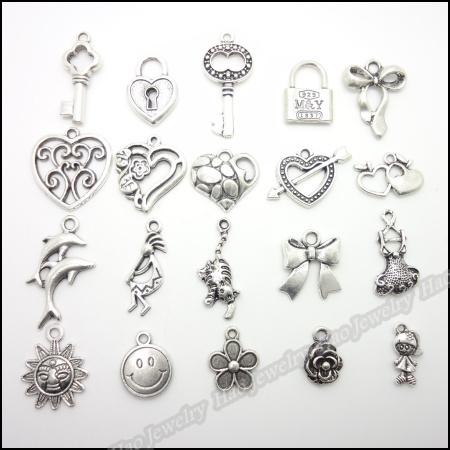High quality Mix 200pcs Vintage Charms  Pendant  Tibetan silver Fit Bracelets Necklace DIY Metal Jewelry Making