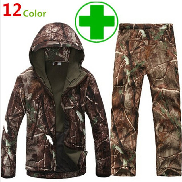 Camouflage hunting clothing Shark skin soft shell lurker tad v 4.0 outdoor tactical military fleece jacket + uniform pants suits