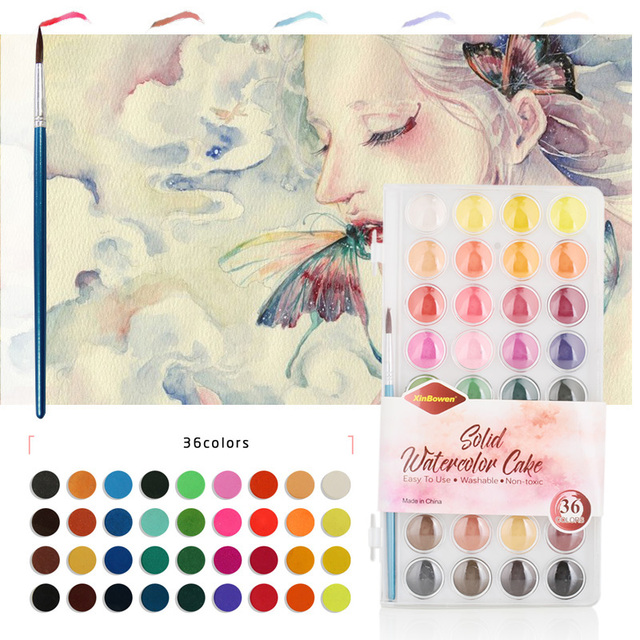 Portable Solid Watercolor Pigment Stationery 36 Colors Pigment Paints Set Watercolors Professional Solid Watercolor Set
