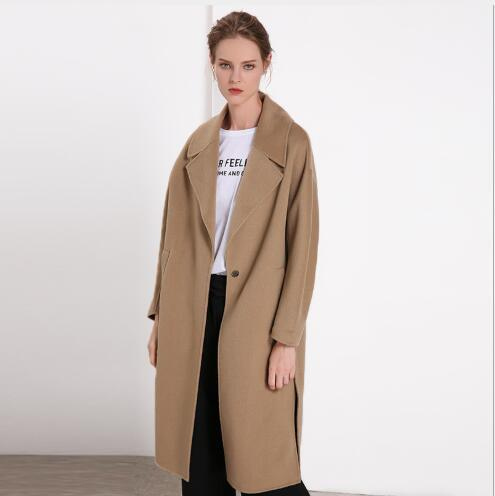 Women Woolen Coat 2018 New Winter Loose Turn Down Collar Double Faced Cashmere Overcoat Female Casual Long Section Woolen Jacket