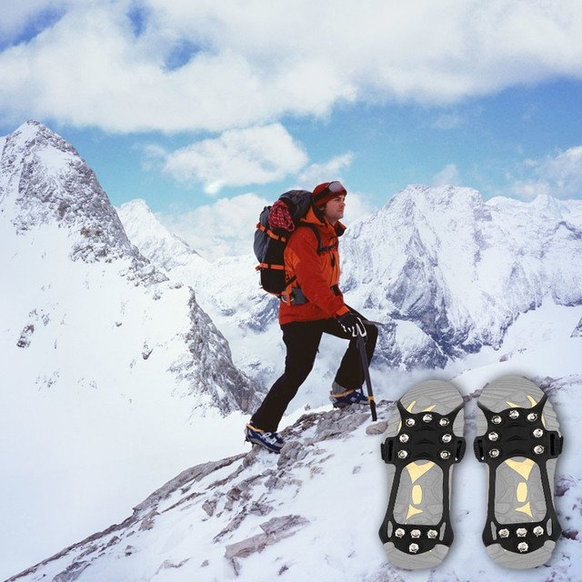 1 Pair Durable 5*Alloy Teeth Silicone Non-slip Snow Cleats Shoes Boots Cover Step Ice Spikes Grips Crampons For Hiking climbing