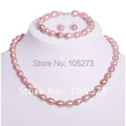 Stunning!Christmas pearl jewelry set AA 7-8mm Pink color Genuine freshwater pearl Fashion jewelry Hot sale free shipping NF95