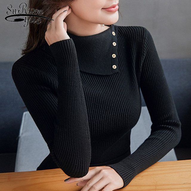 Semi-high collar sweater for women 2019 autumn long sleeve women sweater pullover solid black slim winter sweater women 5037 60