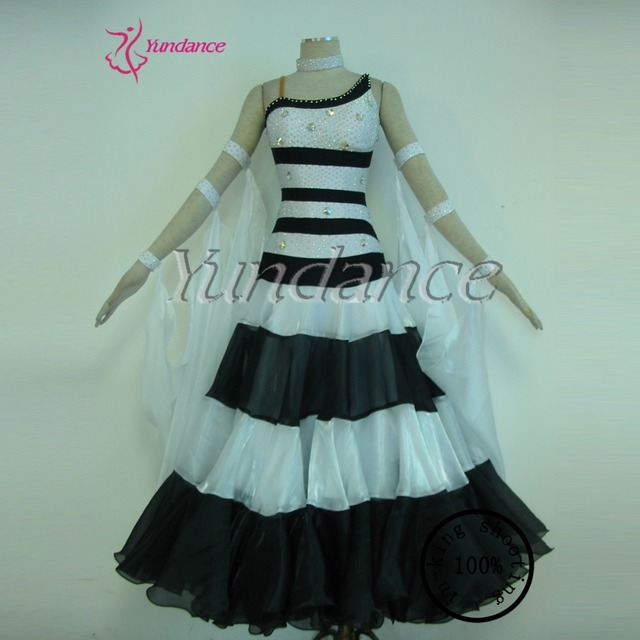 Stage Ballroom Dance Dress Competition Black And White Plus Size Dress 2016   B-11661