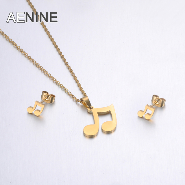 YiKLN Gold Color Stainless Steel Sets For Women Musical Notes Shape Necklace Earrings For Girls Lover's Engagement Jewelry