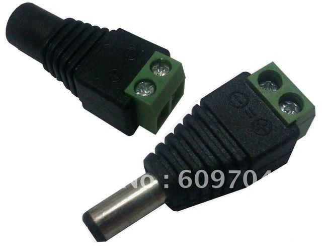 CCTV 5.5mm x 2.1mm Female+Male  DC Power Jack Connector free shipping !!