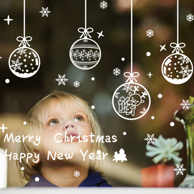 1pc Merry Christmas Ball Shape Window Sticker Removable Glass Wall Art Stickers Decal Happy New Year Xmas Decorations For Home
