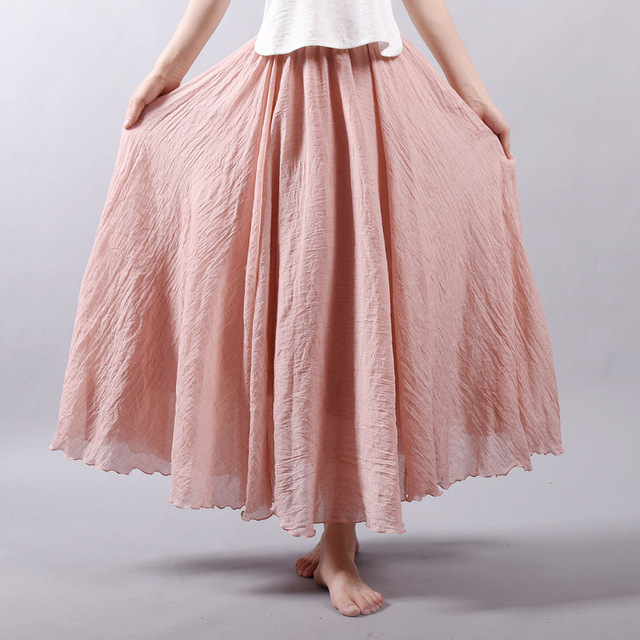 Fashion Women Cotton Linen Skirt Long High Waist Large Size Elastic A Line Girls Skirts Pleated Solid Color Ethnic Vintage Sweet