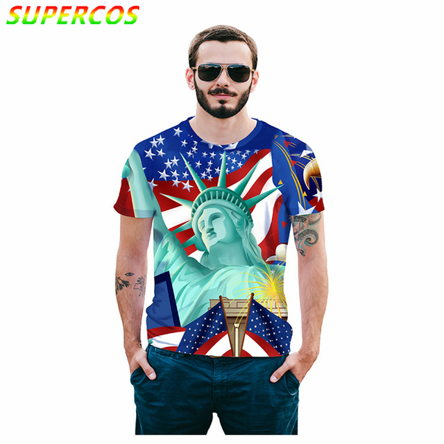 Free Shipping! Newest Good Quality Summer Cool Comfortable High Street Short Sleeve T-shirt With 3D Statue of Liberty Print