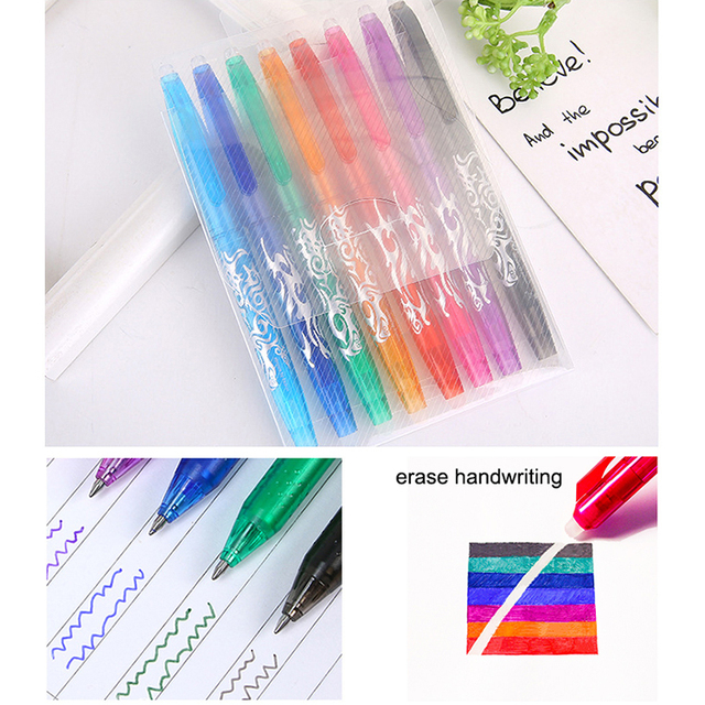 8pcs/set Erasable Gel Pens 0.5mm Refills Student Creative Writing Drawing Gel pen Stationery Supplies School Office Tools