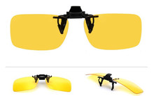 Polarized Lens  Day Vision Flip Up Clip On Driving Glasses Yellow Lens For Night Eyeglass Clips On 2pcs together