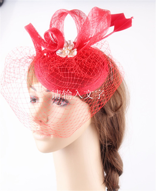 Elegant millinery fascinator hair accessory sinamay base with loops and bridal veils wedding headwear red cocktail hats 15 color