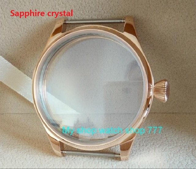 Sapphire crystal PARNIS 44mm 316L Stainless steel watch cases electroplated 18K rose gold fit ETA 6497/6498 movement 015A