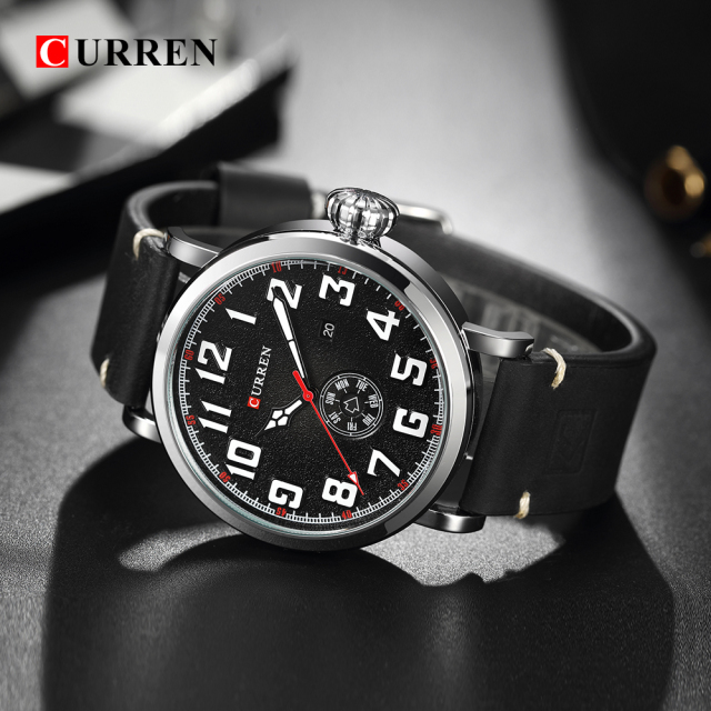 CURREN 8232 Date Men Watch Top Luxury Brand Sport Military Business Casual Male Clock Leather Band Wrist Quartz Mens Watches Hot