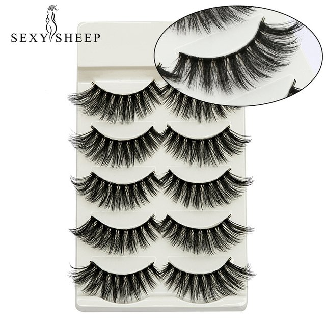 Sexysheep 5 Pairs Faux Mink Eyelashes Natural 3D Mink Fake Lashes Handmade Thick False Eyelashes Extension Maquiagem Cilios Tool