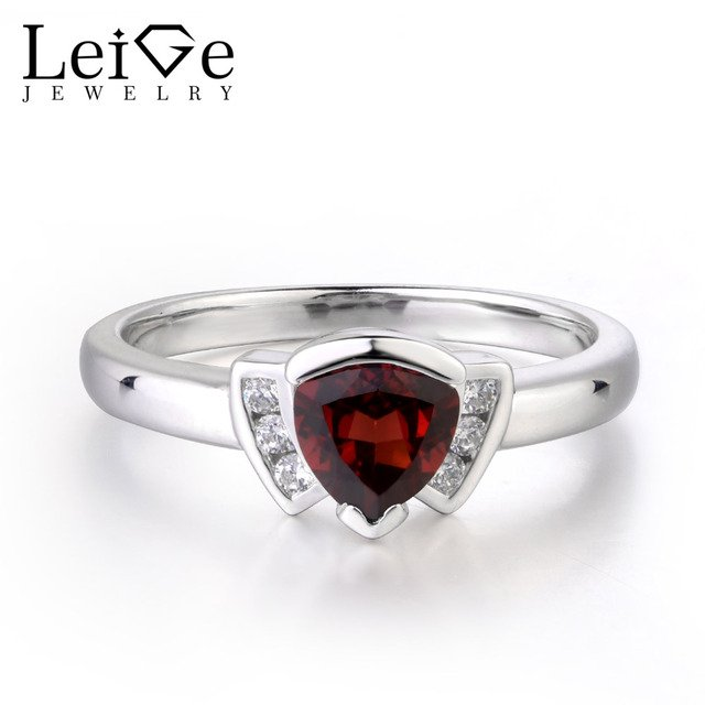 Leige Jewelry Red Color Natural Garnet Rings Engagement Ring Trillion Shape Anniversary Rings for Woman January Birthstone