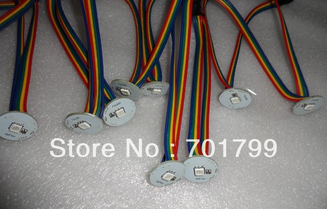 22mm diameter WS2801 LED pixel module,1pcs 5050 smd rgb led,DC5V,input with 4pin male JST connect ;output with female