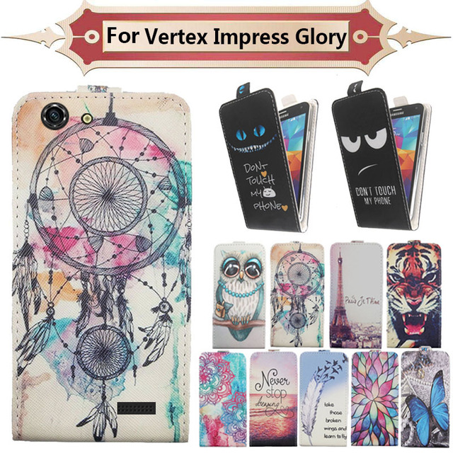 Top Selling 11 Colors Cartoon Pattern Up and Down Flip PU Leather Case For Vertex Impress Glory