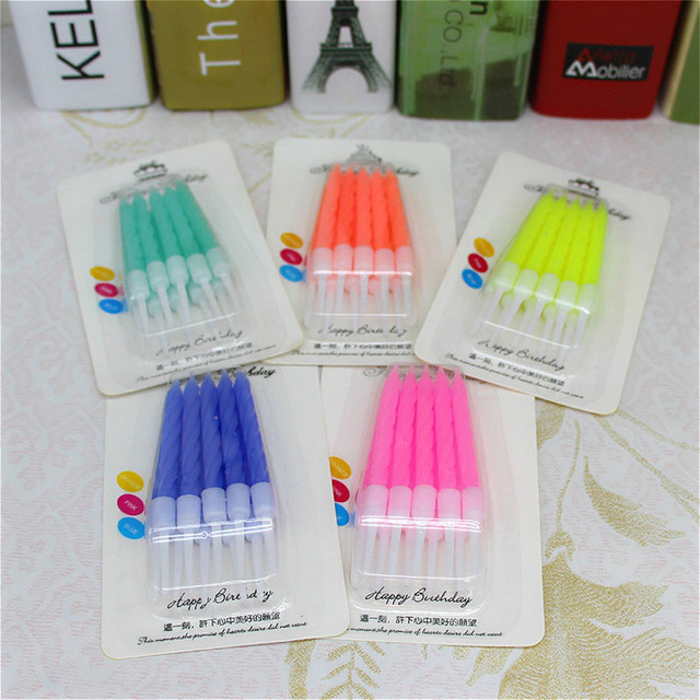 10Pcs Solid Color Simple Style Crystal Threaded Birthday Party Candle Adult Children Kids Baby Shower Birthday Cake Decor Gift