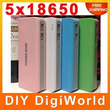 DIY Cell Box Portable External Battery Mobile Phone Charger Power Bank Box Shell 20000 mah for iPhone 5 samsung s4 note 3 III
