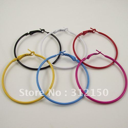 72pcs(36pairs) free shipping Colorful Big Hoop Earring Fashion Round Circle  Earrings