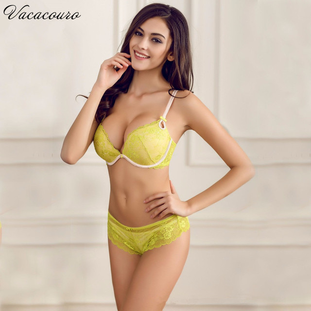 Intimates Set New 2017 New Women Sexy Bra Sets Embroidered Full Lace Push Up Bra And Panty Set Bow Sexy Lingerie Set s BS302