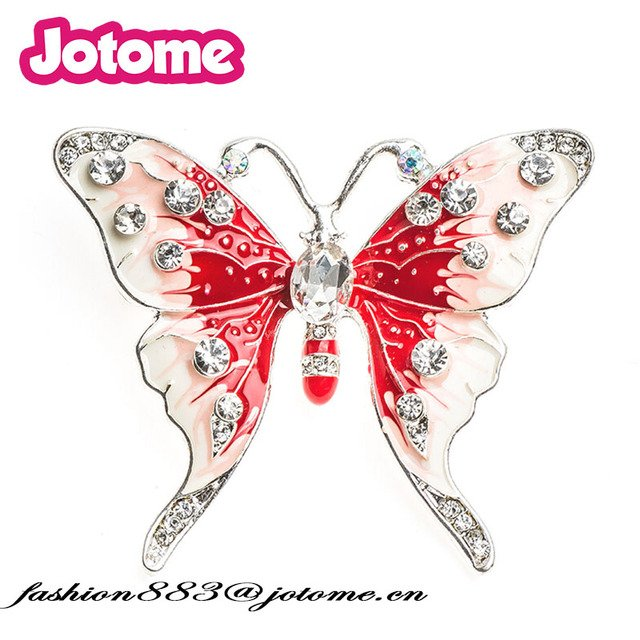 50mm Custome Clear rhinestone Acrylic Red butterfly brooches Enamel animal pin for dress garment