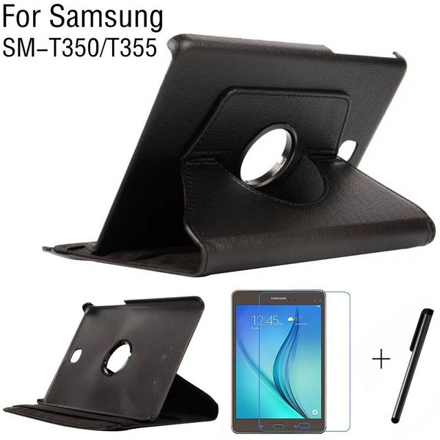 """360 Degree Rotating Stand Smart PU Leather Cover Case for Samsung Galaxy Tab A 8.0"""" T350 T355 Tablet Case+Screen Protector+Pen"""