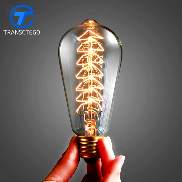 TRANSCTEGO Edison Bulb vintage lamp E27 screw 110V 220V 40W 60W Lamp light bulbs
