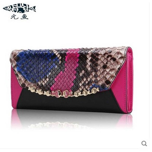 yuanyu  new hot free shipping  python leather bag female long snakeskin women clutches small bag  fresh genuine leather bag